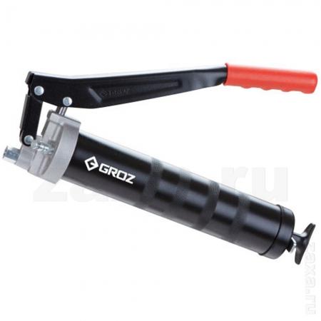 GROZ GR42630 Шприц рычажный для смазки со стальной трубкой, двойной поршень, 500 см3