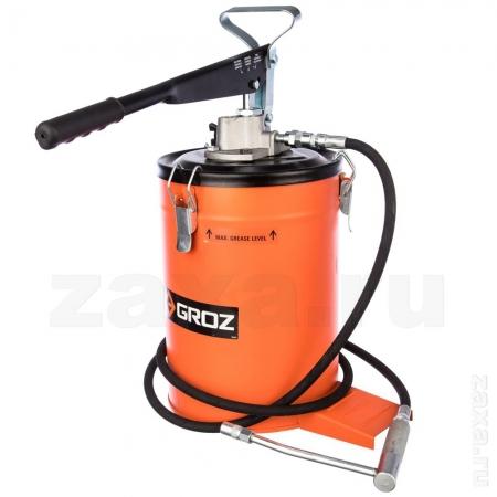 GROZ GR44281 Ручной нагнетатель смазки с ножной опорой с баком 10 кг
